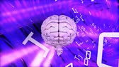 stowarzyszenie : Digital animation of pink brain surrounded by binary codes in moving pink and purple digital tunnel background Wideo