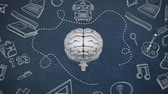 маркер : Digital Animation of grey brain with drawing study objects on blue background