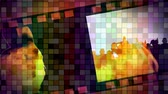 mozaik : Digitally animated of cinema film with fake fire and multi-color mosaic in backgound