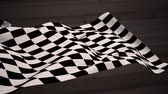 karierte flagge : Digital composite of Checkered flag waving against road in brown background