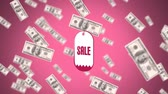 fan of money : Digital animation of a spinning sales sticker surrounded by money on a pink background Stock Footage