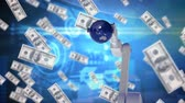 tecnológica : Digital animation of a robotic arm holding a blue globe surrounded by money on a blue technological background