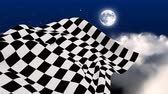 sem costura : Digital animation of checkered flag waving in starry night