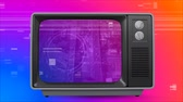 televizyon : Digital animation of old TV with cityscape on the screen against colorful scrambled effect in the background