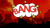 cartoon background : Digitally animation of the red word bang in a cloud against cityscape on red background Stock Footage