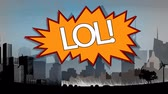 comico : Digital composite of the word LOL appears in retro and comic speech bubble with drawing cityscape on background