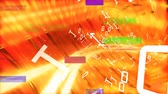 scrambled : Digital composite of yellow light lines surrounded by white binary codes moving and colorful scrambled effect against orange background Stock Footage