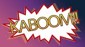 комиксы : Front view of popart art kaboom animation of a comic stripes against shade purple background Стоковые видеозаписи