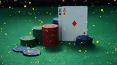 como : Digital composite of tokens and cards posed on casino table with confetti animation Vídeos