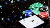 jeton : Digital composite of tokens and cards falling on the floor with confetti and bubble animation