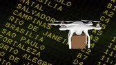 country name : Digital animation of white delivery drone holding cardboard against the flight scheldule table