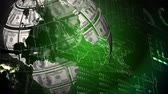 fan of money : Digital animation of globe with dollar bills on surface rotates against green background with world map. Stock Footage