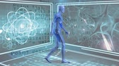 ayar : Digital composite of human anatomy walking. Background shows atoms and microscopic view