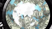 international economy : Digitally generated rotating globe while dollars fall and gets locked inside a vault.