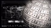 законопроект : Digitally generated globe rotating with dollar bills on the surface. Dark background of map of the world in digital surface