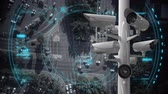 polis : Digital composite of road and cars. Surveillance cameras moves. Stok Video