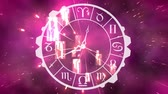 minuto : Digitally generated analog clock with zodiac sign symbols. Background shows galaxy and glowing lights zooming in