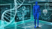 researcher : Digitally generated human model walking while DNA double helix strand rotates on the side of the screen. Background shows different screen with different images. Stock Footage
