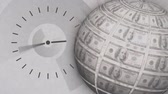 alarm : Digitally generated analog clock moving as a globe rotates with dollar bills on surface