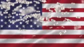 社長 : Digitally generated american flag while dollar bills floats up 動画素材