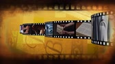 crown of thorns : Digitally generated film strip containing different videos about religion. Background of filmstrip with different videos.