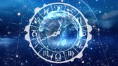 egyetemes : Digitally generated zodiac sign clock with a globe at the center. Background shows glowing lights.