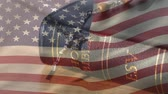 crown of thorns : Digital composite of the american flag waiving while background shows a bible and crucifix Stock Footage
