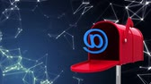 по электронной почте : Digitally generated red mailbox opening to release an @ sign and the stars.