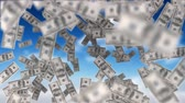fan of money : Digitally generated dollar bills floating in the sky. Background of sky with clouds Stock Footage