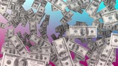 fan of money : Digitally generated dollar bills falling. Background of pink and blue.