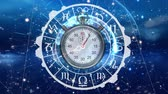 interval : Digitally generated zodiac sign circle with stopwatch. Background of the galaxy