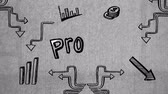 analyst : Digitally generated lettering of the word Profit surrounded by sketches of arrows and graphs Stock Footage