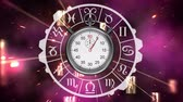cromo : Front view of stopwatch surrounded by zodiac sign symbols Stock Footage