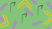 esclamativo : Digitally generated exclamation point drawing. Background shows colored arrows.