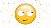 emoticono : Digital animation of a face with rolling eyes emoji with confetti on a white background Archivo de Video
