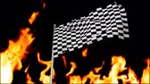 quadriculada : Digital animation of a racing flag hanging on a pole with a flaming background Stock Footage
