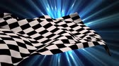 começando : Digital animation of a racing flag waiving in the wind with shining blue light background Vídeos
