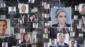socialisation : Digital composite of profile photos with lines connecting them together floating in a backwards motion