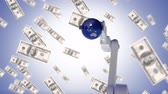 technician : Digitally generated animation of a robot arm picking up a globe with dollars flying towards the screen as background Stock Footage