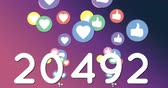 socialisation : Animation of numbers increasing with hearts and like icons moving on a purple gradient background 4k