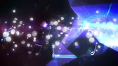 refração : Digital animation of musical notes and bokeh light effects moving with a diamond reflecting on the right side