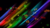 рисунки : Digital animation of colourful light bubbles moving in the centre of a colourful stripped background