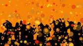 disco : Digital animation of a silhouette of a group of people dancing. The background is filled with orange bokeh light effects