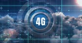quarto : Front view of 4G technology symbol with three metal rings, blueprint concept and moving clouds as background 4k