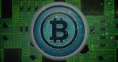 modern commerce : Digital animation of a silver bitcoin the middle with codes forming into a digital lock, and a zoomed view of a circuit board as background 4k Stock Footage