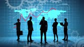 события : Front full body view of silhouettes of five people in business suits checking and monitoring the business and financial growth of the world