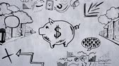 процветание : Sketch animation of a pink piggy bank with a dollar sign in the middle. Sketches of graphs, charts, cityscape, speech bubbles, and economic trends in the background Стоковые видеозаписи
