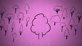 reforestation : Sketch animation of a tree with green leaves with random sketch of a variety of trees in pink background