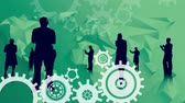telekomünikasyon : Digital animation of silhouettes of various business people standing and using their phones or laptop. Rotating industrial gears on top and bottom in a green abstract background