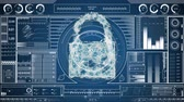 blueprint : Digital animation of a cyber lock in the middle and random moving data visualisation concept on a screen as background Stock Footage